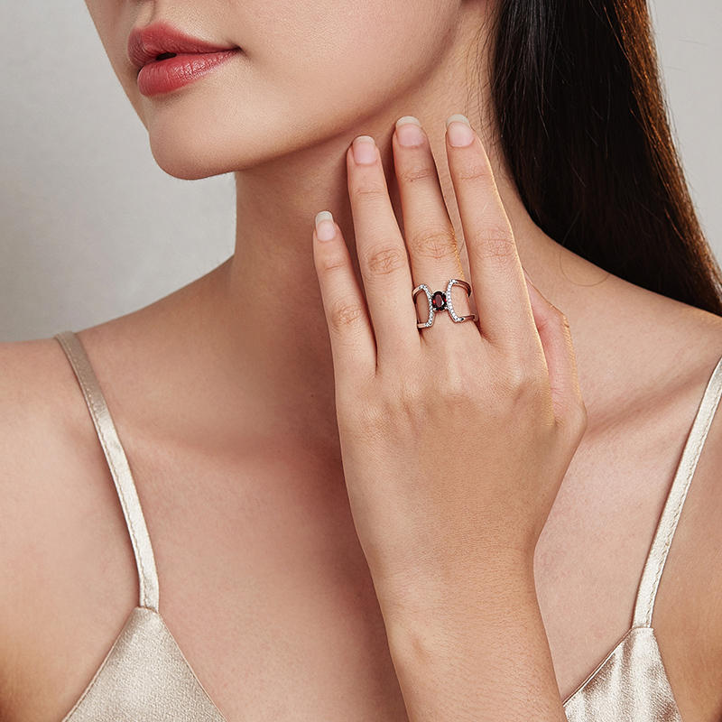 product-Fashion simple design charm shiny red zirconia geometric rings for women fashion jewelry-BEY-1