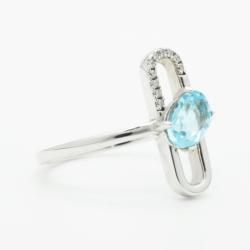 product-BEYALY-Special design paper Paper clip shape 925 Sterling Silver Jewelry Ring With Blue Topa