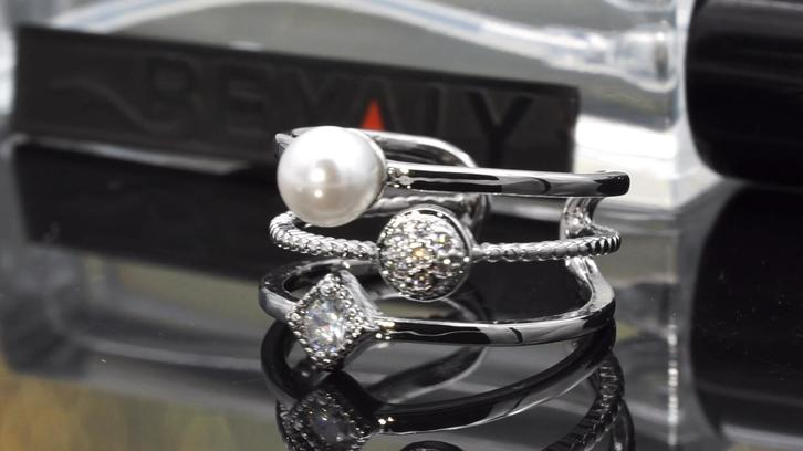Beyaly Jewelry   Trendy design custom design pearl rings women double-layer geometric opening ring