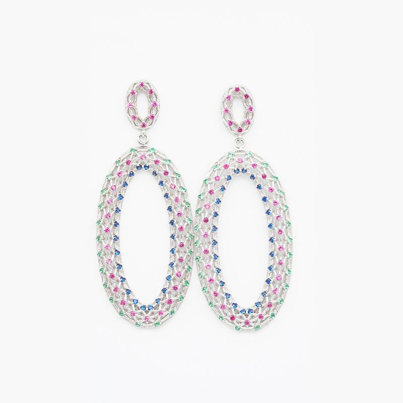 product-Popular Gold Plated Luxury Women Wedding Earrings Oval Charm sterling silver earrings-BEYALY-1