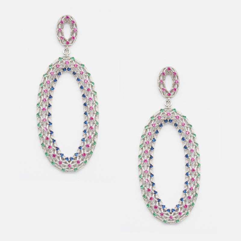 product-BEYALY-Popular Gold Plated Luxury Women Wedding Earrings Oval Charm sterling silver earrings