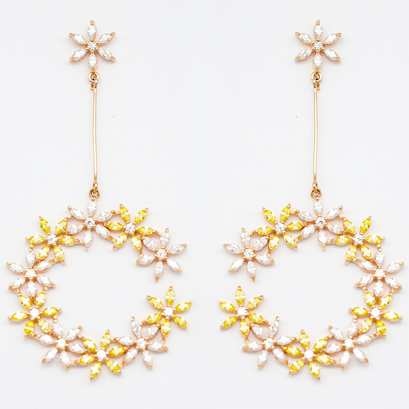 BEYALY crystal circle stud earrings factory for business gift-2