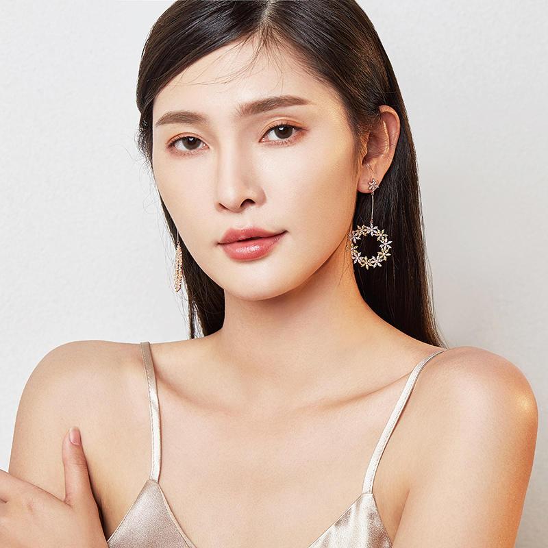 product-BEYALY-Elegant style c shape hoop earring pendant inlay colorful flower shape pendant earrin