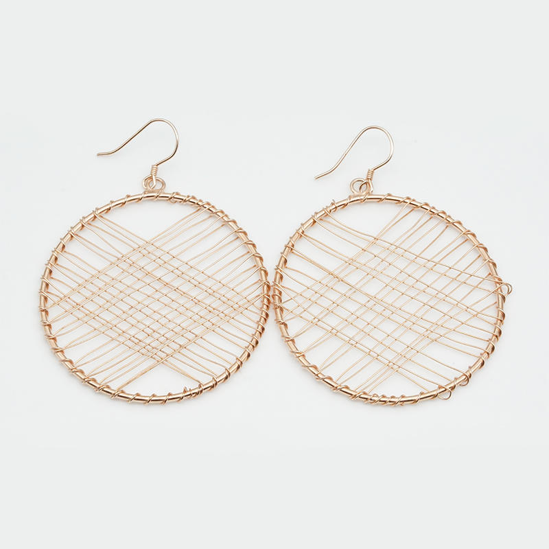 product-Simple designs sense metal rose gold plated wheel oversized circular thread wound earrings f-1