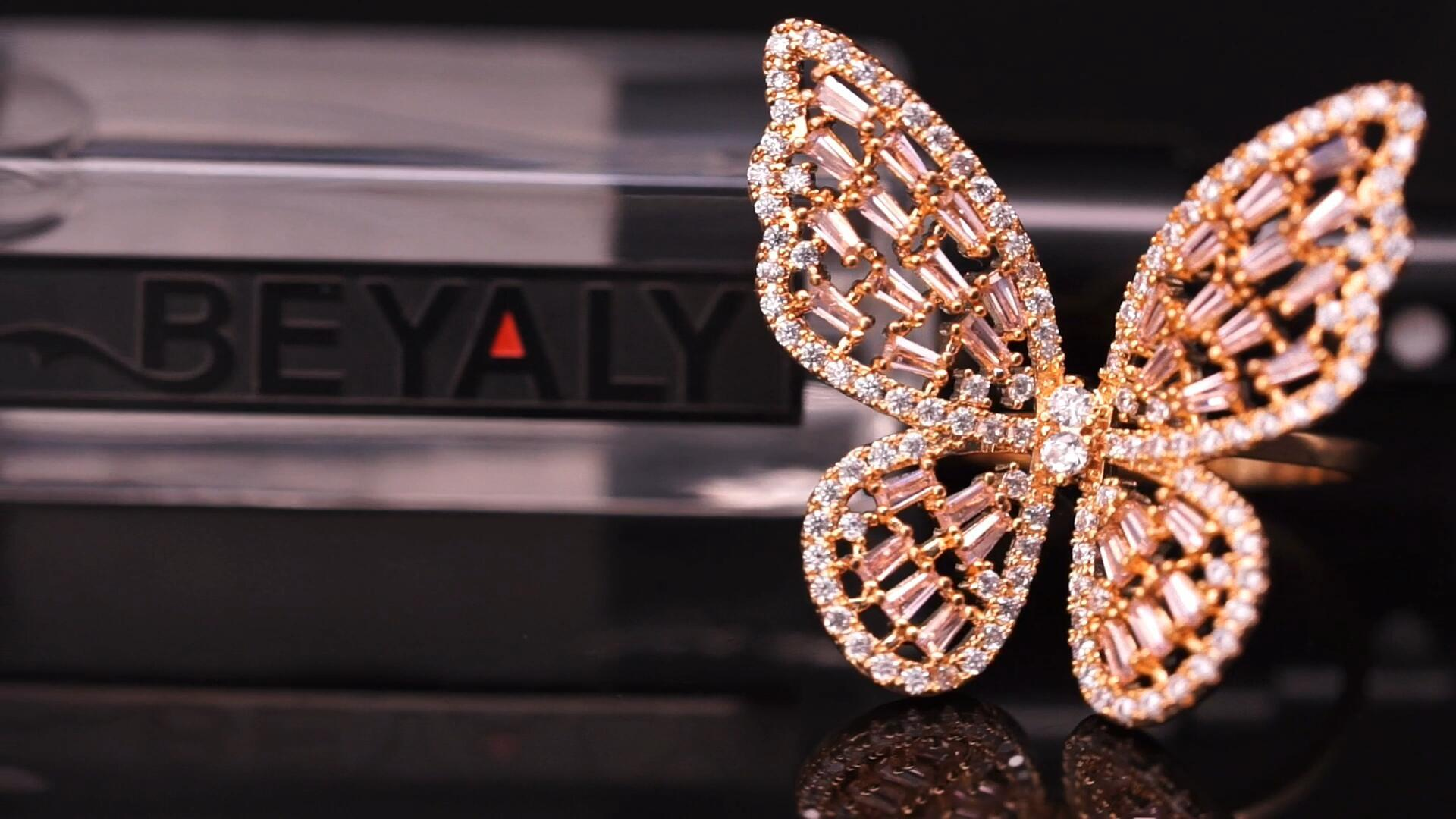 Beyaly Jewelry | wholesale fashion jewelry beautiful gemstone butterfly ring designs for women