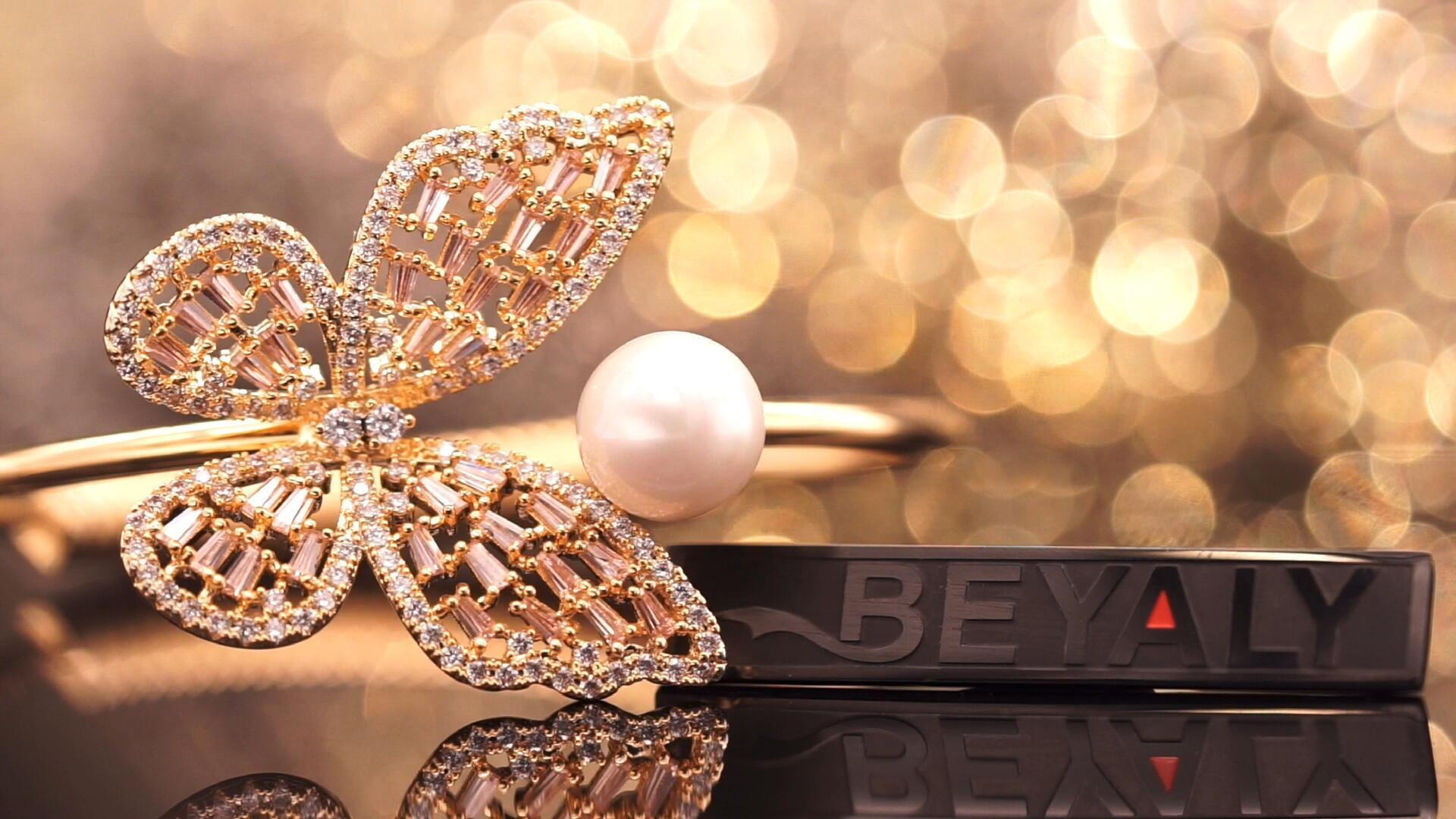 Beyaly Jewelry | Trendy butterfly design rose gold plated pearl bangle for women