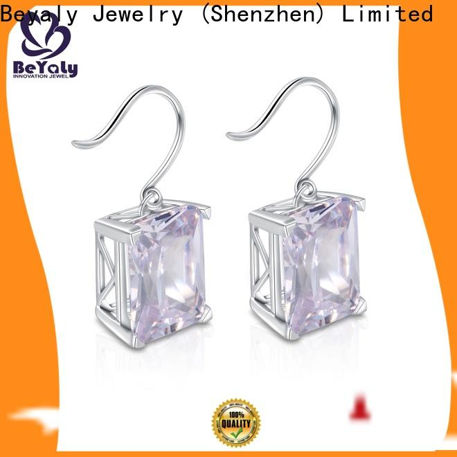 BEYALY stylish white gold and diamond stud earrings manufacturers for women