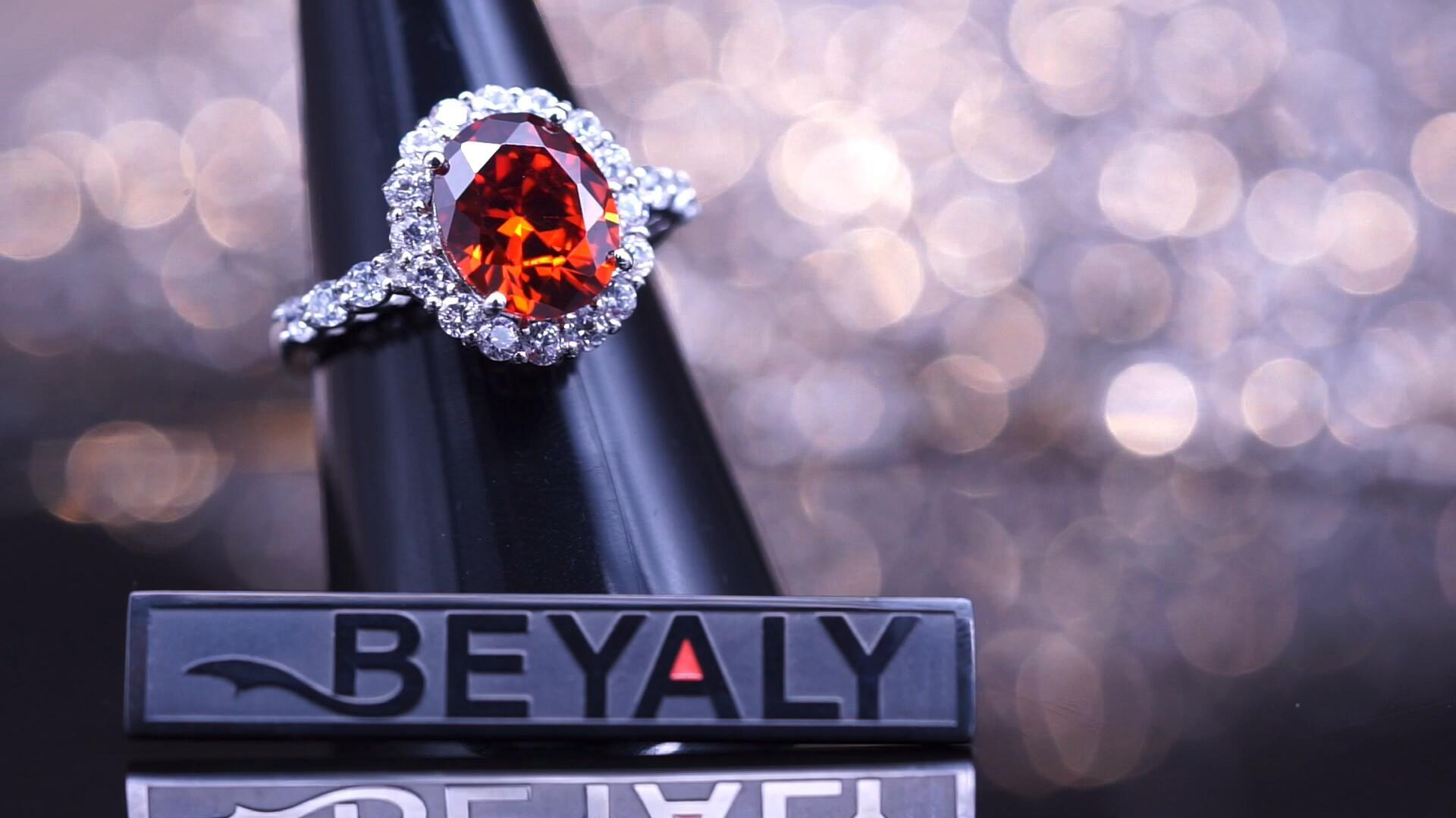 Beyaly Jewelry | Female 925 sterling silver red ruby CZ stone ring