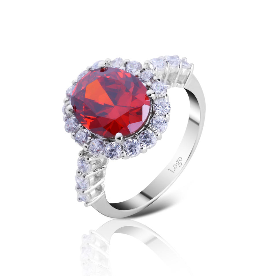 Silver jewelry ruby color zircon stone ring designs