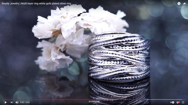 Beyaly Jewelry   Multi-layer ring white gold plated silver ring