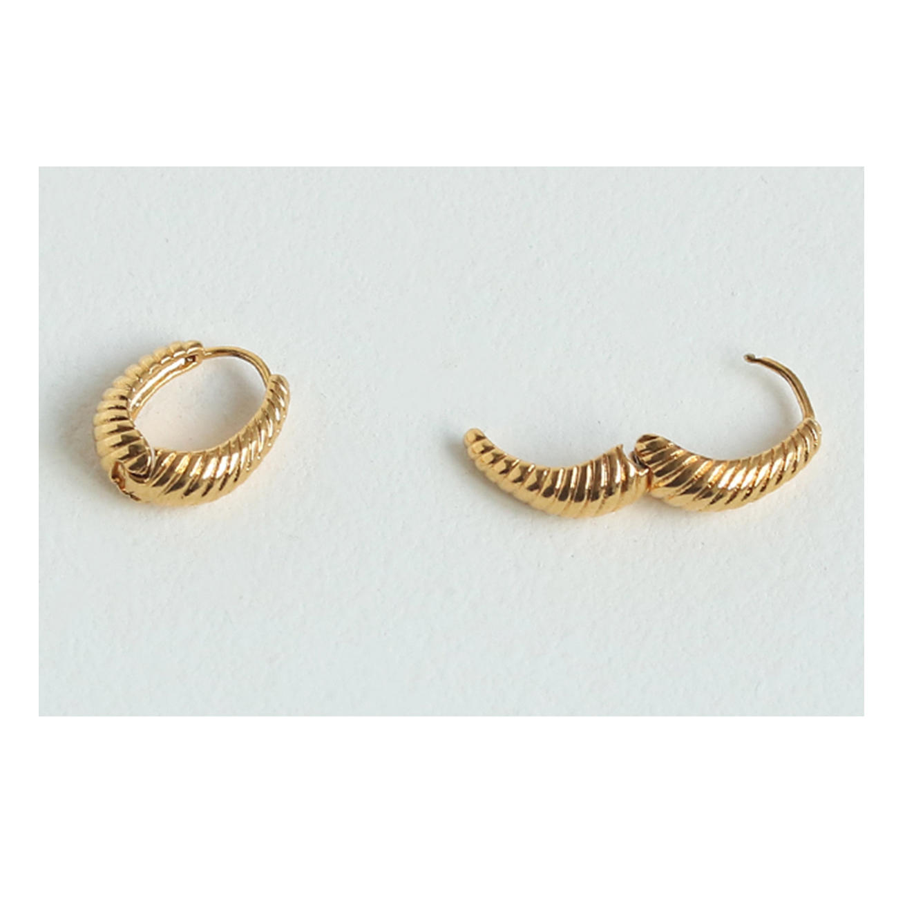 product-Fine jewelry 18k gold plated Simple Braid Twisted Petite Hoop Earring women-BEYALY-img-1
