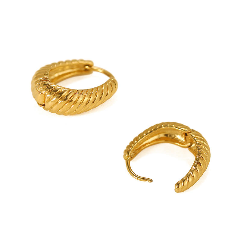 product-BEYALY-Fine jewelry 18k gold plated Simple Braid Twisted Petite Hoop Earring women-img