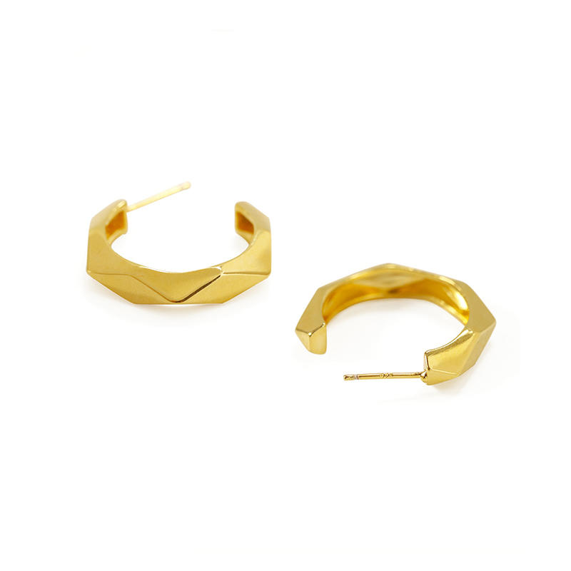 2021 New Trendy Faceted brass Earring Polished Rhombus Hoop Earring Dainty Jewelry for Women