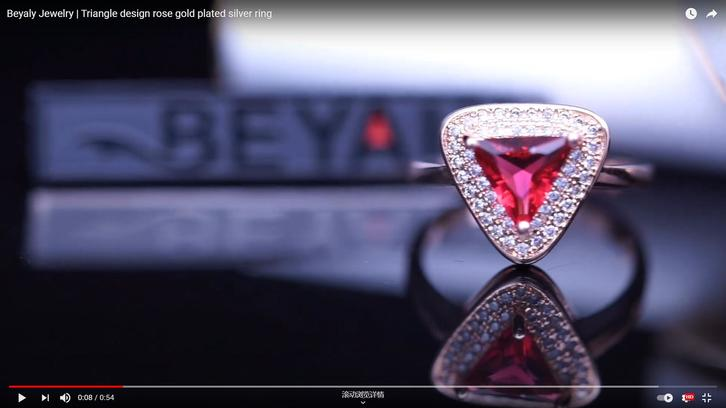 Beyaly Jewelry   Triangle design rose gold plated silver ring