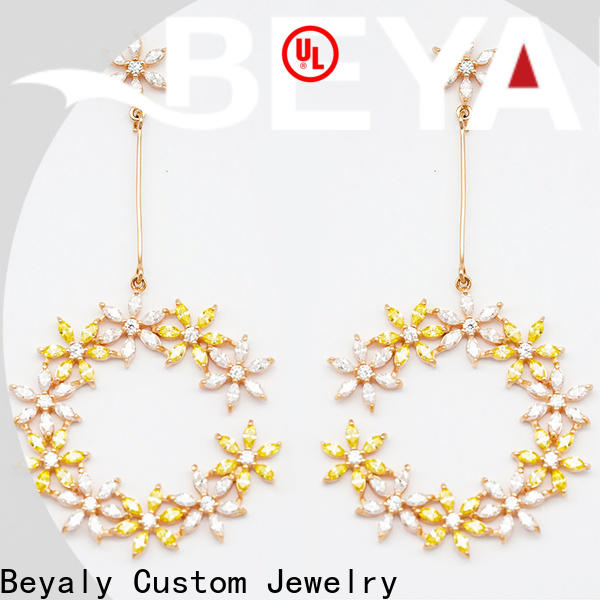 BEYALY crystal circle stud earrings factory for business gift