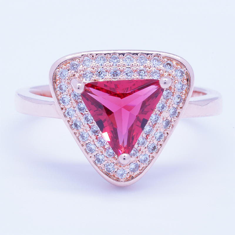 Triangle design rose gold plated silver ring