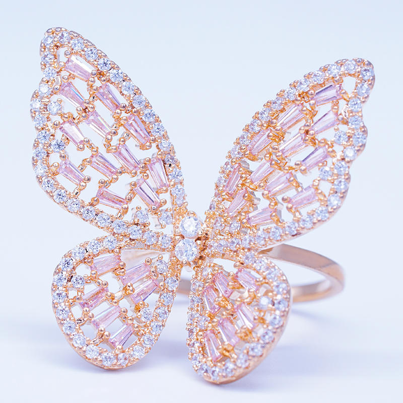 wholesale fashion jewelry beautiful gemstone butterfly ring designs for women