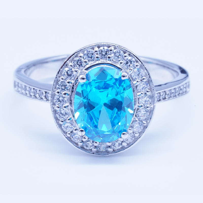 Blue zircon Wedding Silver 925 Rings design