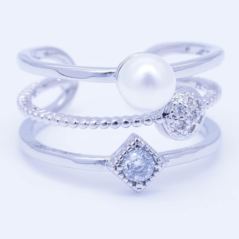 Three layer fashion design pearl ring for women