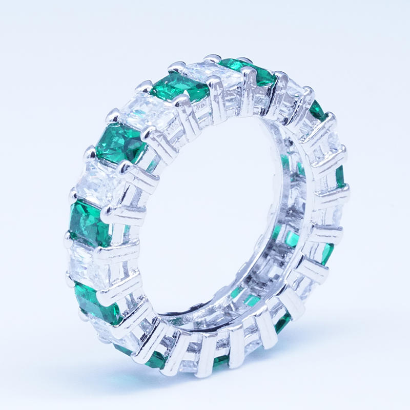 product-Cheapest custom promotional Emerald cut white zircon 925 sterling silver plated copper ring -1
