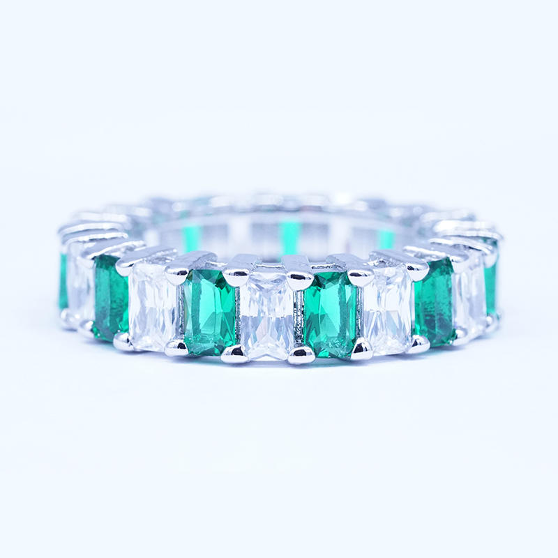 Cheapest custom promotional Emerald cut white zircon 925 sterling silver plated copper ring for women