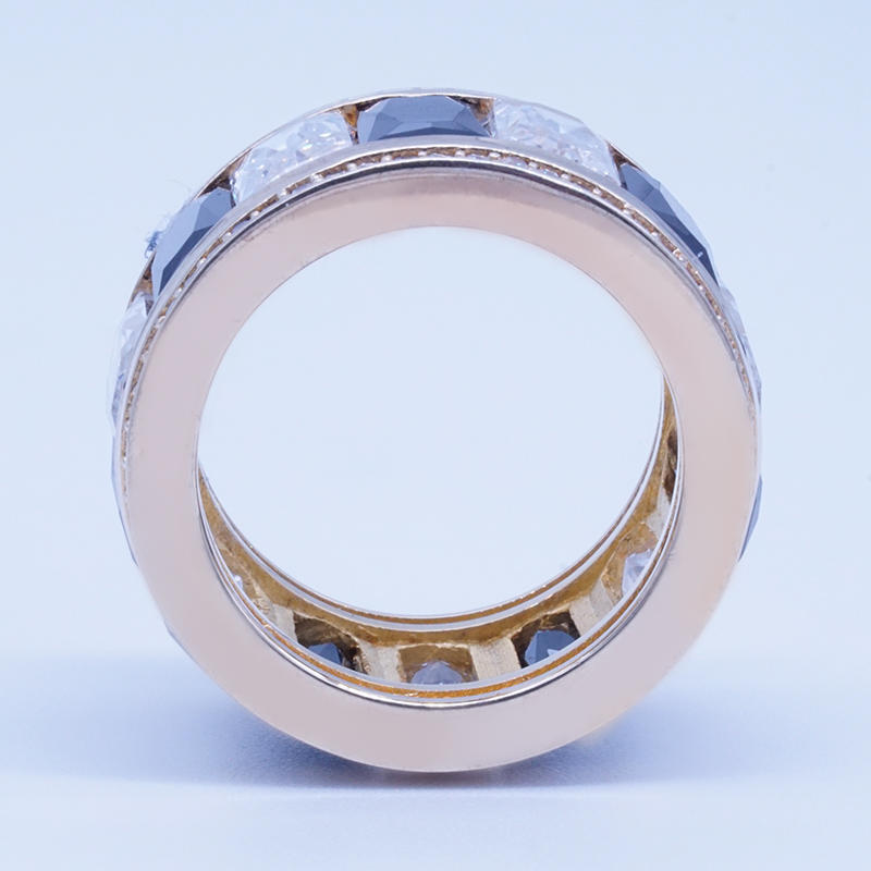 product-Unique design white and black channel setting cubic zirconia gold plated silver ring-BEYALY--1