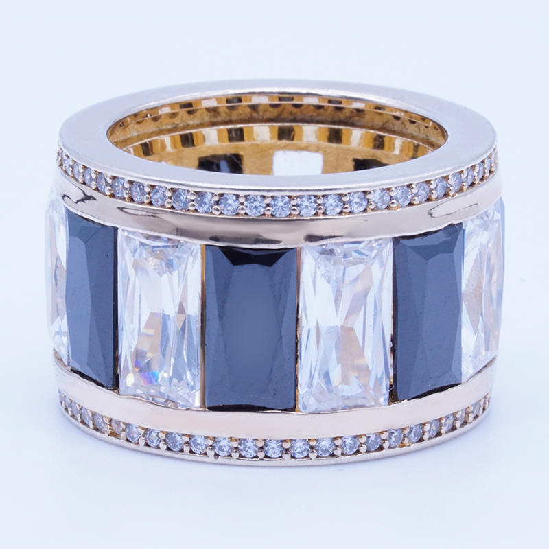 product-BEYALY-Unique design white and black channel setting cubic zirconia gold plated silver ring