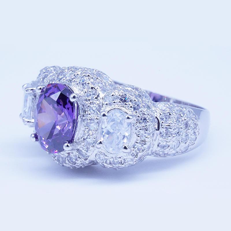 product-Rhodium plated purple zircon three stone engagement rings-BEYALY-img-1