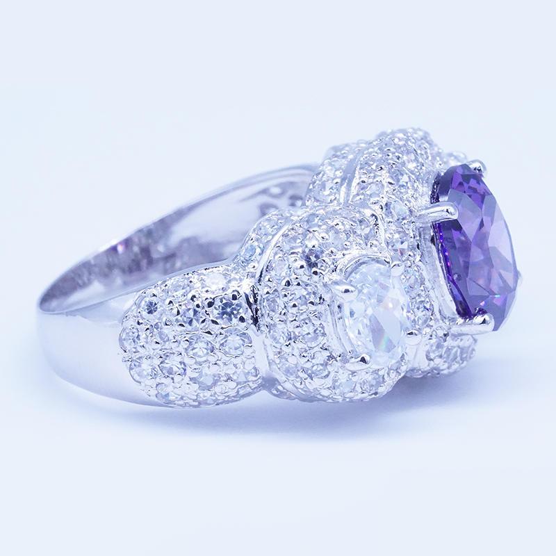 product-BEYALY-Rhodium plated purple zircon three stone engagement rings-img
