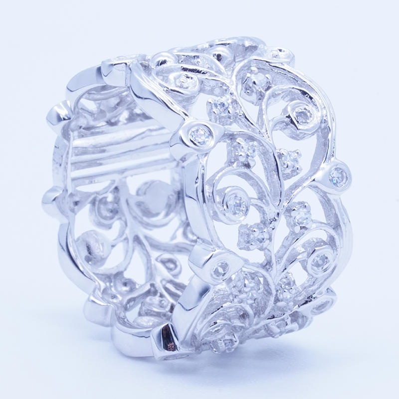 New Trendy width Vintage Flower vine 925 Sterling Silver Finger Rings