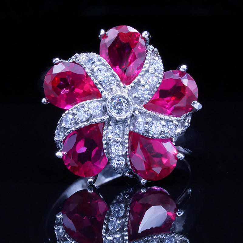 product-Red Zircon Petals Flower 925 Sterling Silver Stone Ring Jewelry-BEYALY-img-1