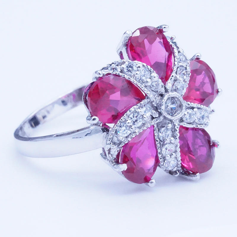product-BEYALY-Red Zircon Petals Flower 925 Sterling Silver Stone Ring Jewelry-img