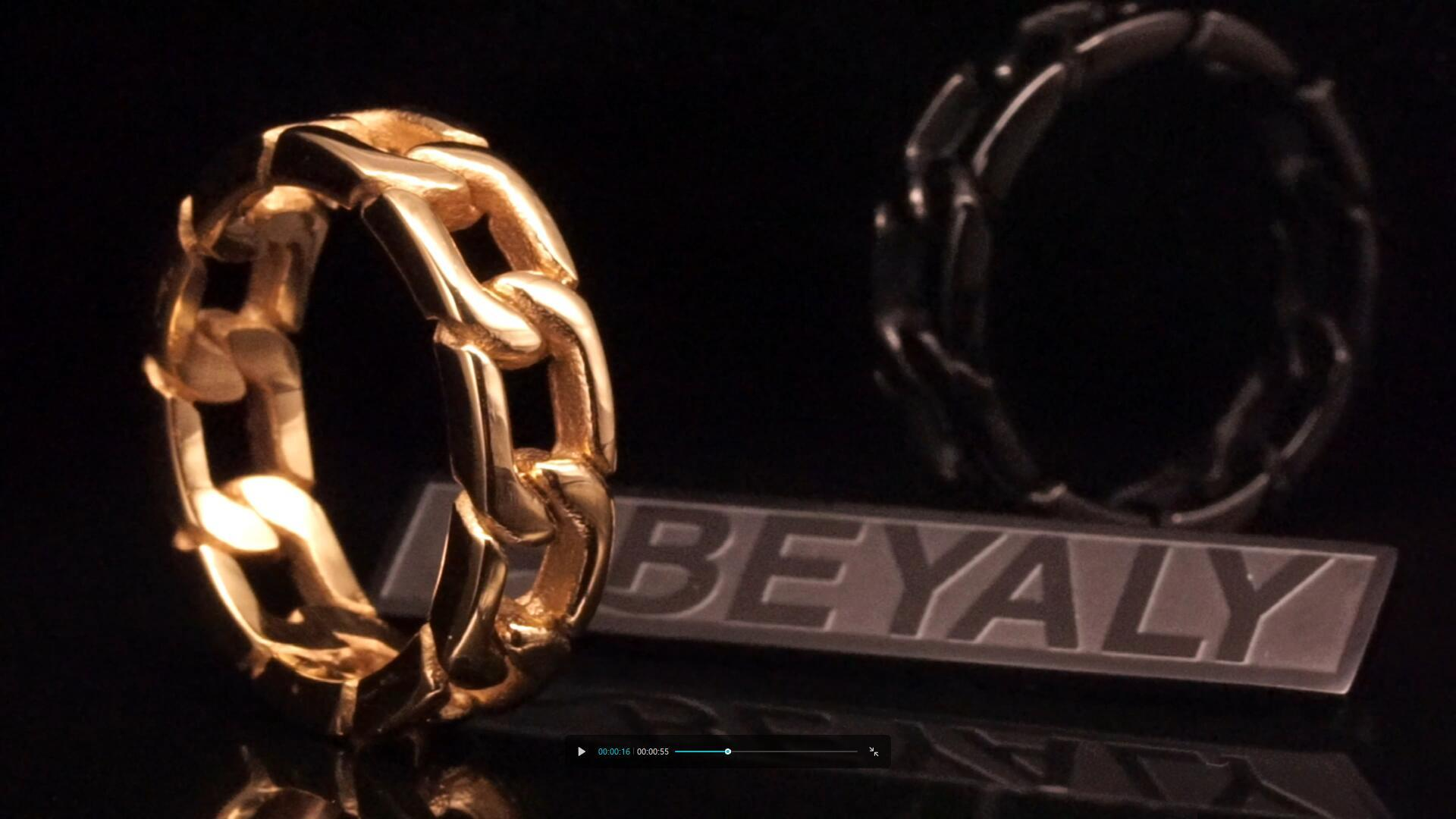 Beyaly Jewelry | Custom Mens Hip Hop Jewelry Stainless Steel black gun plated Band Chain Ring