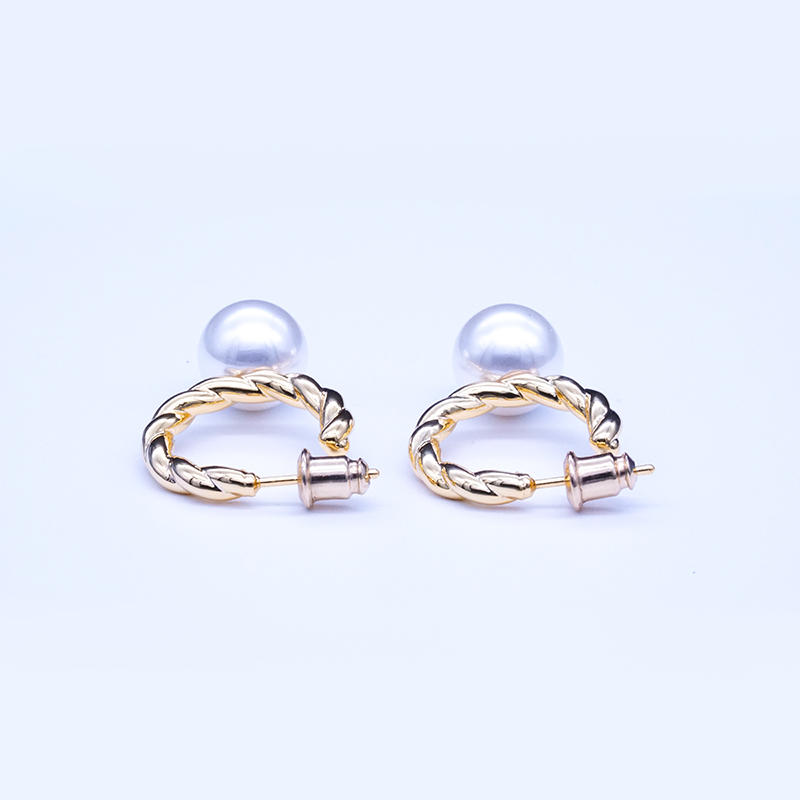 product-925 Sterling Silver twist design Women Elegant Infinite Gift Jewelry Natural Pearl Earrings--1