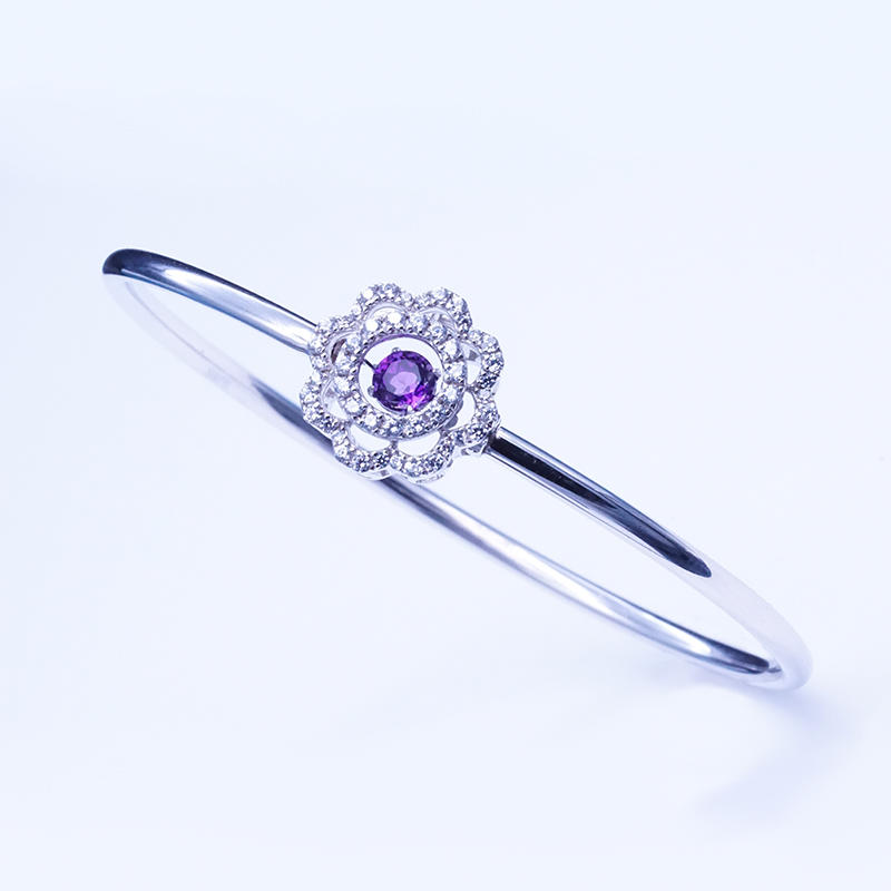 2020 elegant Design Hand Jewelry Danding Stone purple gemstone Women Sterling Silver Bracelet Bangle