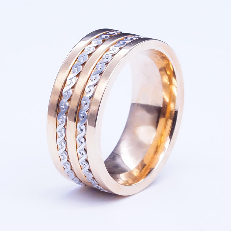 18k gold-tone fashion design double twist mens stainless steel ring