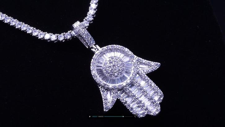 Beyaly Jewelry | ew design custom hip hop CZ iced out micro paved charm hamsa hand pendant