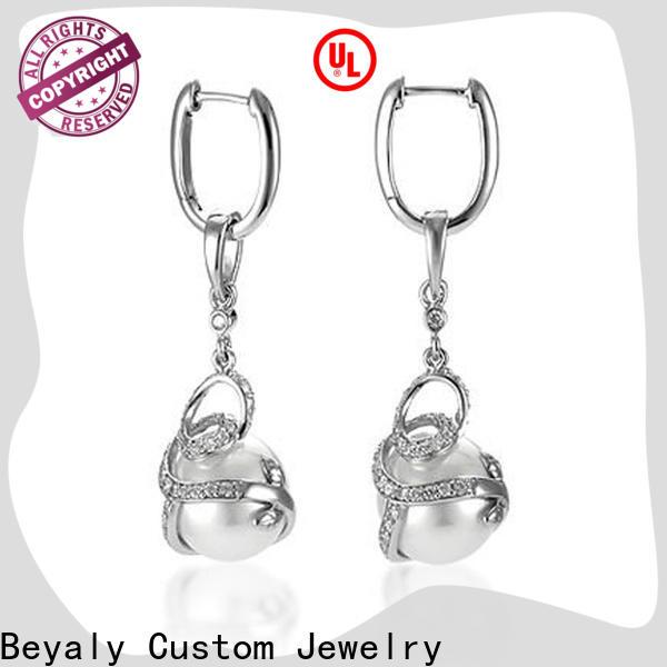 BEYALY Latest sterling silver cubic zirconia hoop earrings bulk buy for wedding