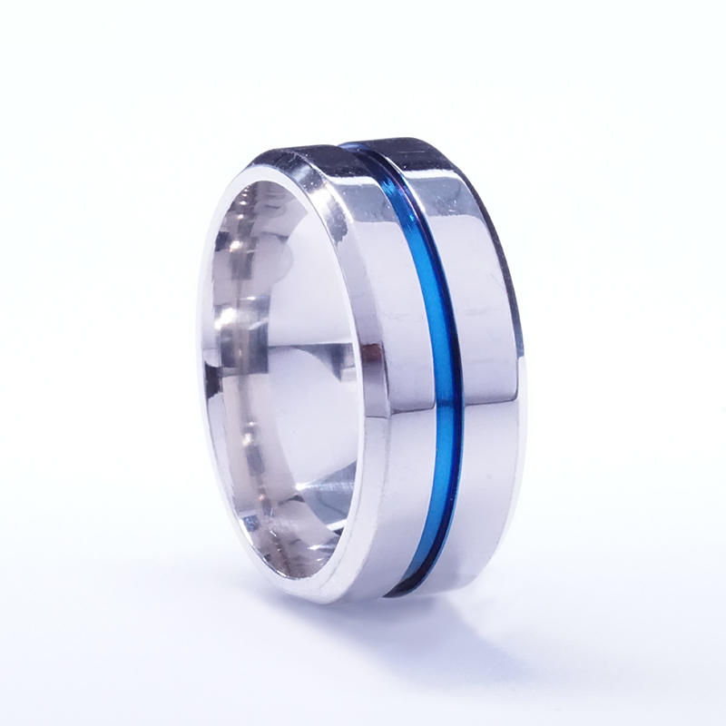 wholesale new arrived stainless steel blue ribbon ring design your own stainless steel ring