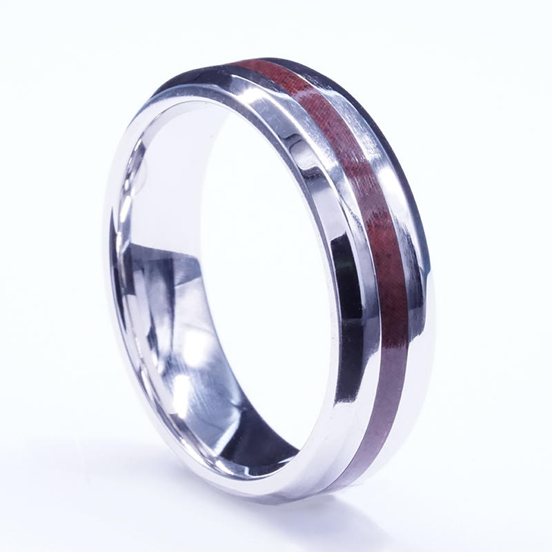 Rose Wood Tungsten Ring Personality vintage Dome Black Acacia for men