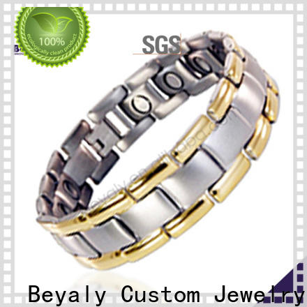 Custom titanium couple bracelets shipped to business for party