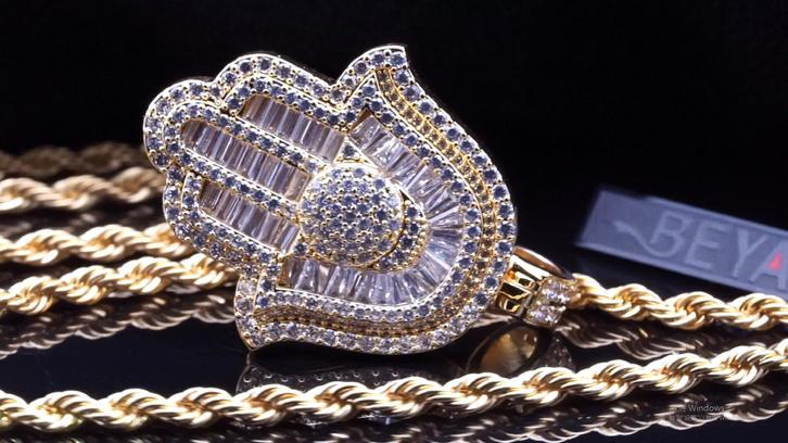 Beyaly Jewelry | Gold-tone custom hip hop CZ iced out micro paved charm hamsa hand pendant