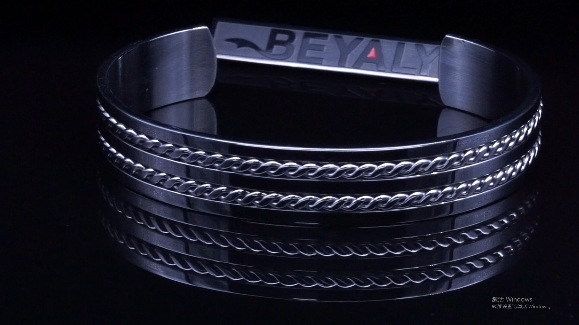 Beyaly Jewelry | Simple design fashion stainless steel double twist wire men's bangle