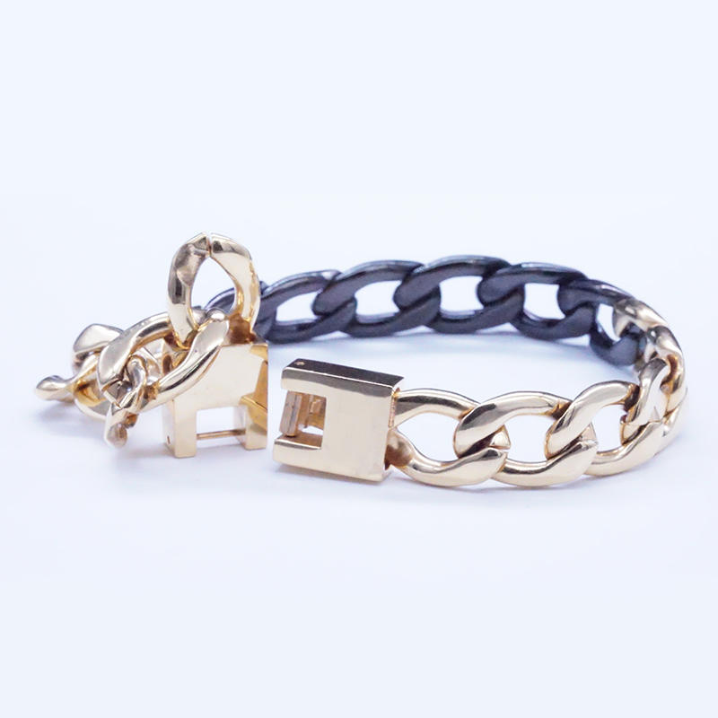 product-BEYALY-Stainless Steel Gold And Black Plated Chain Bracelet-img