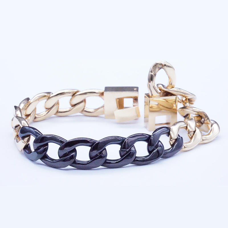 product-Stainless Steel Gold And Black Plated Chain Bracelet-BEYALY-img-1