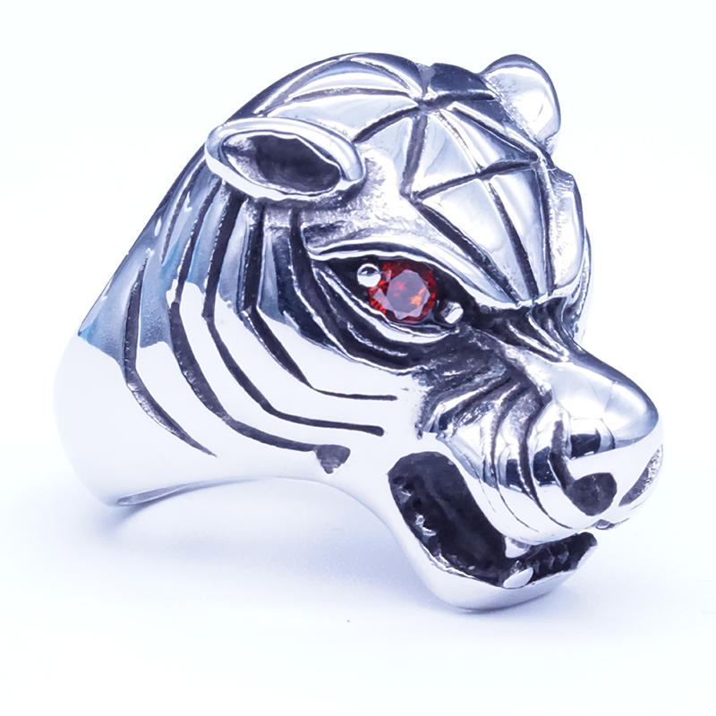 Stainless steel animal design tiger ring for men