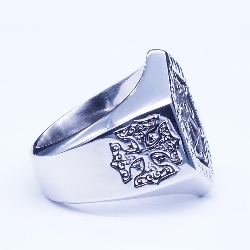 product-BEYALY-Hexagon Design Viking Secret Totem Ring Mens Charm Ring-img