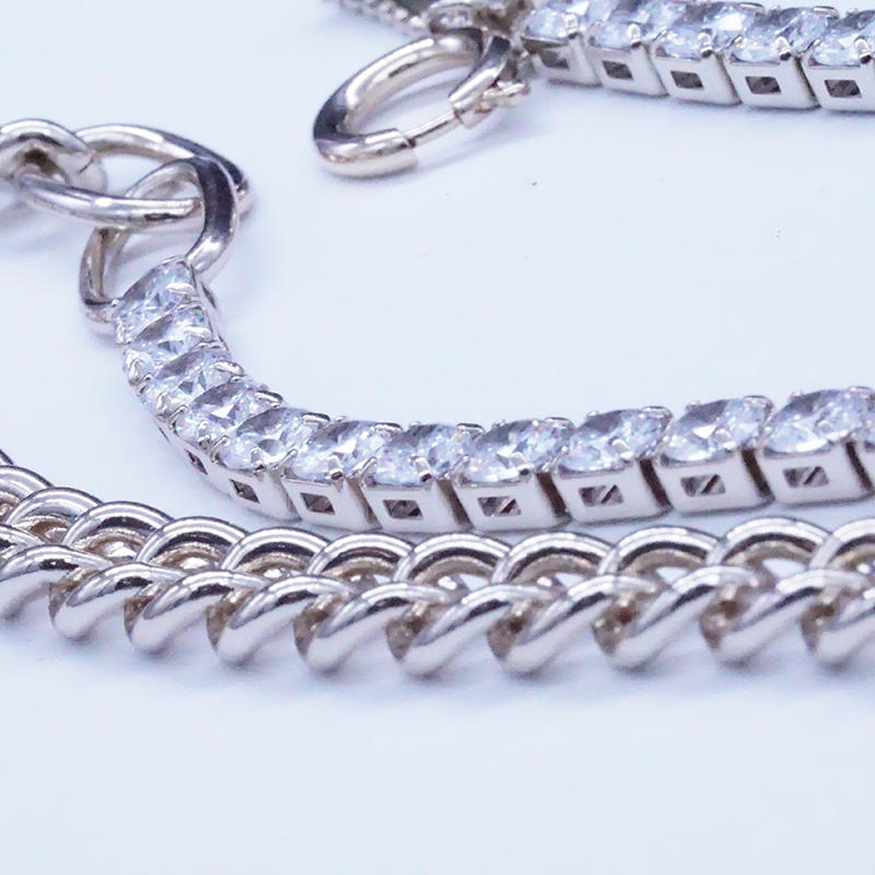 product-Half chain necklace design with tennis chain-BEYALY-img-1