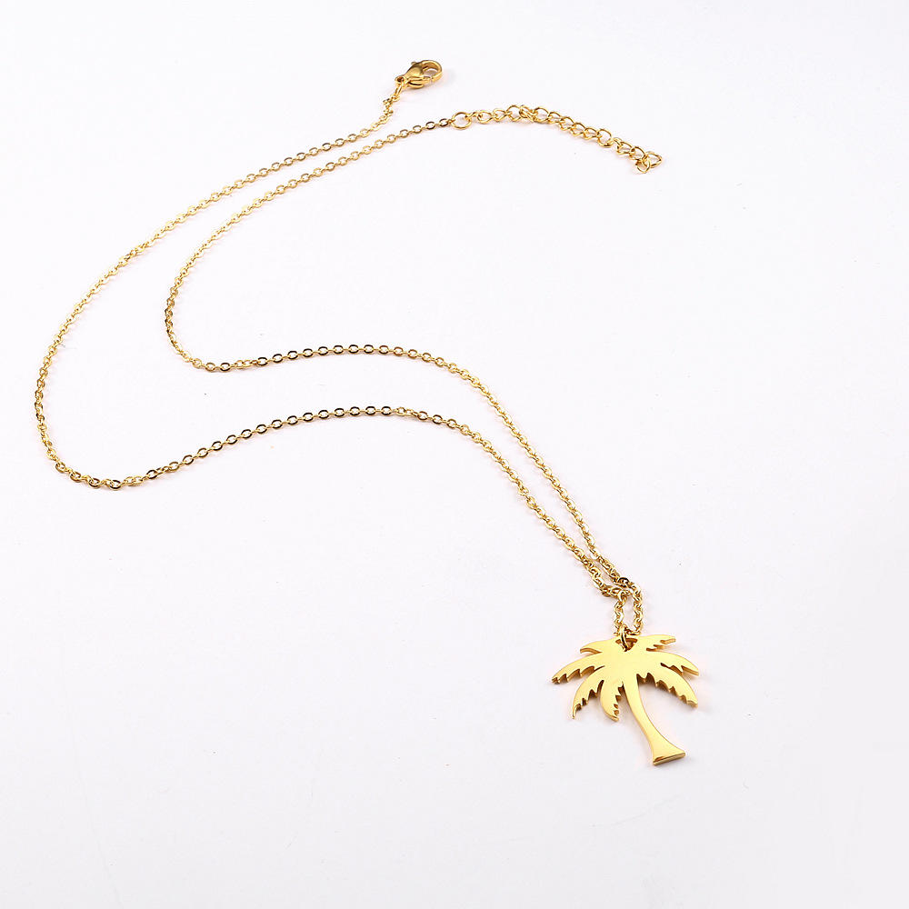 product-Summer Style Gold Plated Choker Necklaces For Women With Coconut Tree Pendant-BEYALY-img-1
