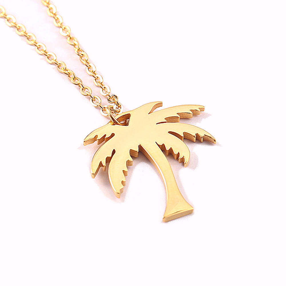 product-BEYALY-Summer Style Gold Plated Choker Necklaces For Women With Coconut Tree Pendant-img